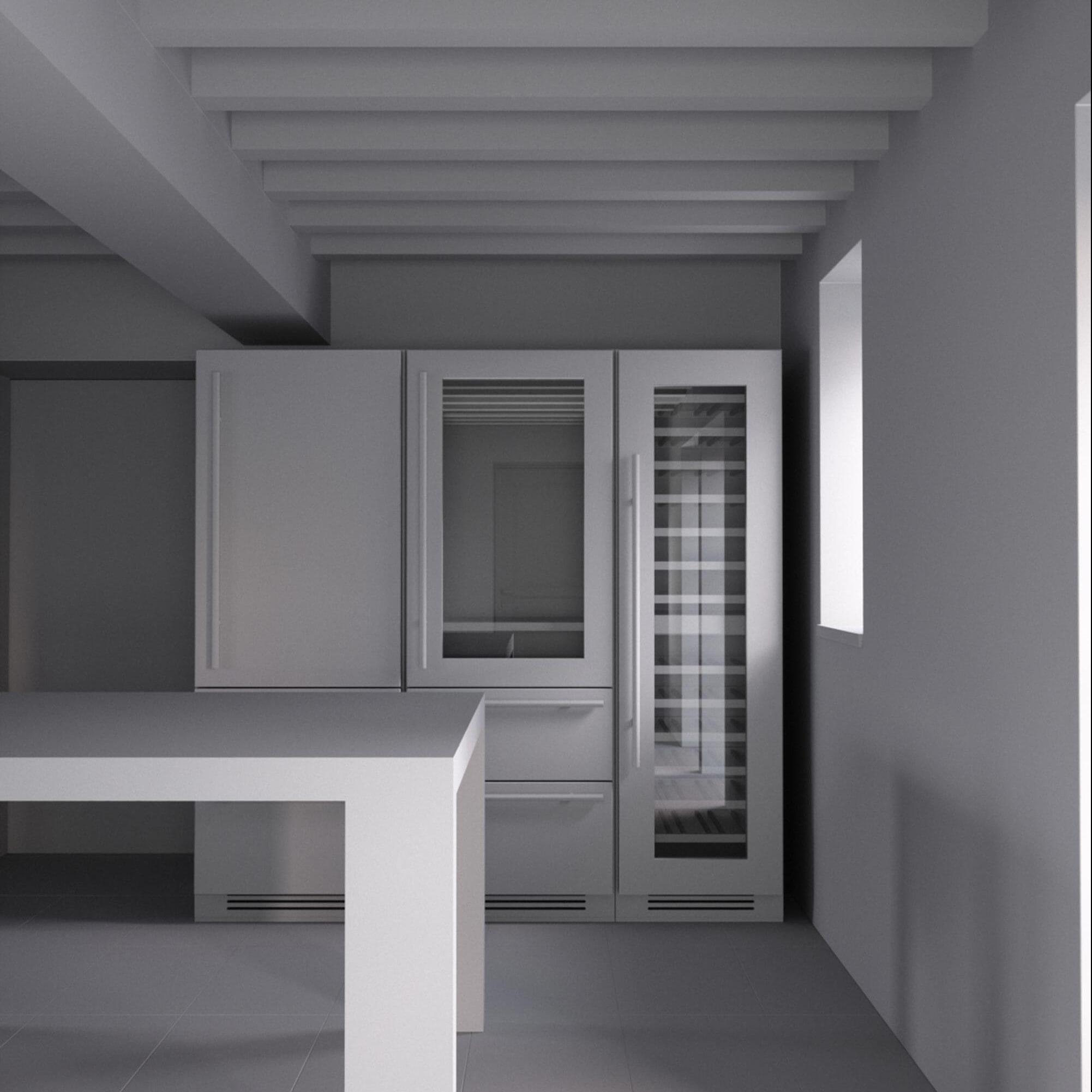 Maquette Blanche 3D Projet de cuisine