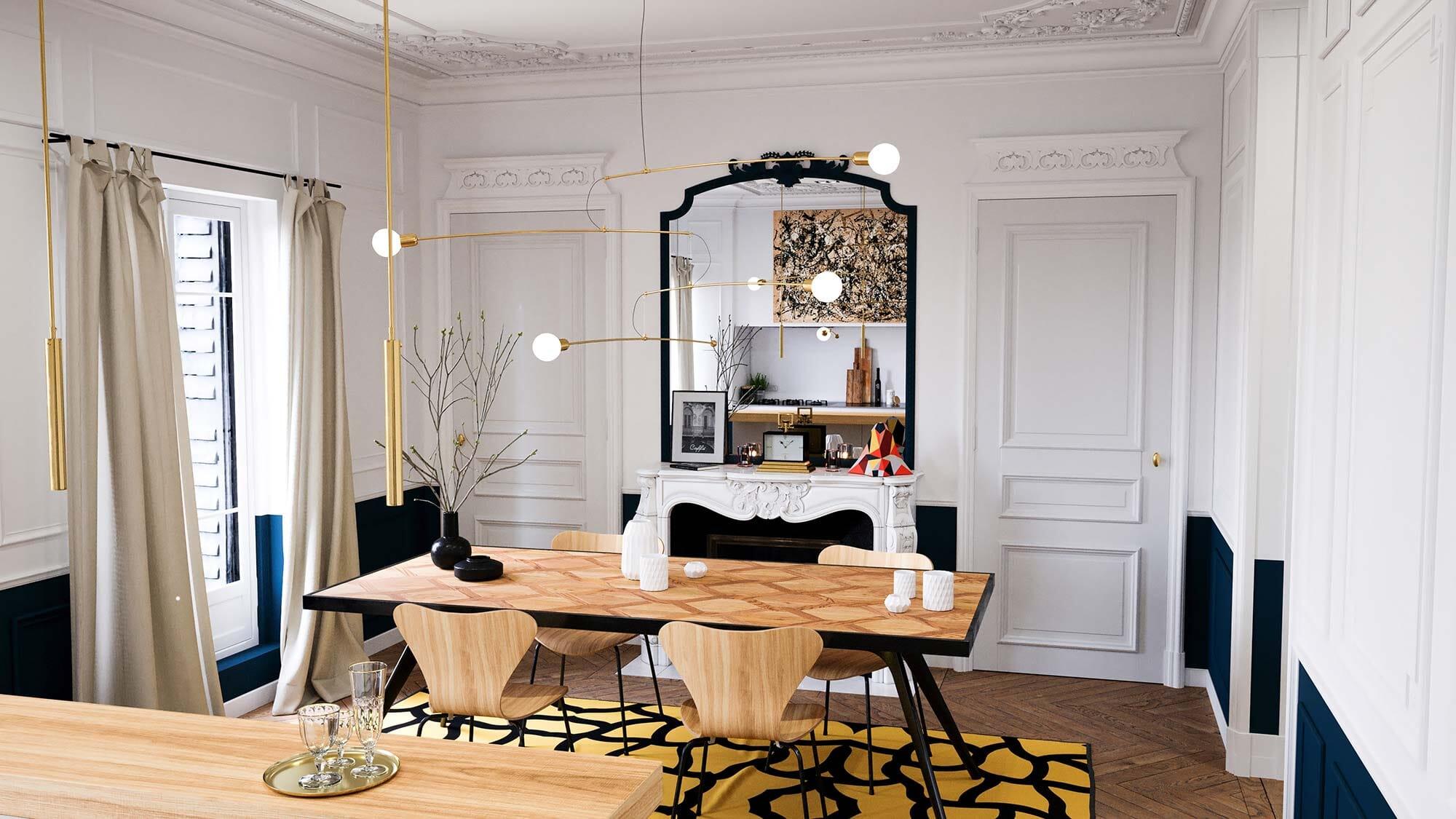 Rendu 3D Appartement Haussmannien x Gobo Light