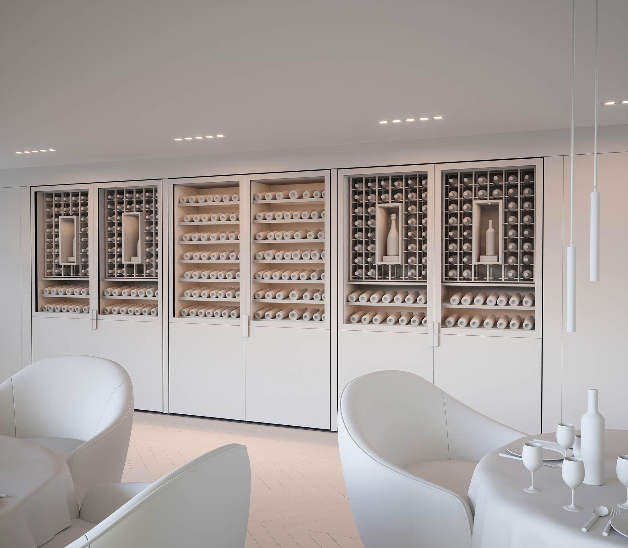 Maquette Blanche 3D - Projet de Cave à vin pour Restaurant